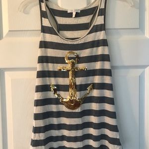 Blue & White striped anchor tank top